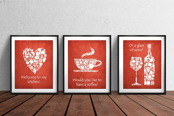 Set of 3 PRINTS. White red kitchen decor Red White by BlackPelican