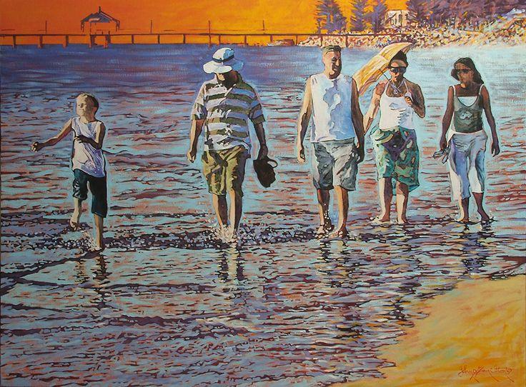 John Hamilton - Sunset stroll 100x76cm, Acrylic