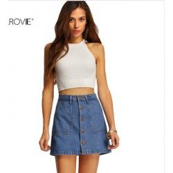 Blue Single Breasted Denim A-Line Skirt