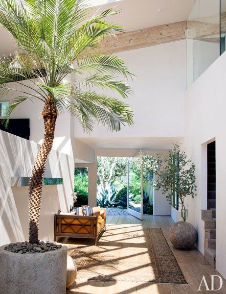 The entrance hall of Patrick Dempsey's Frank Gehry–designed Malibu home