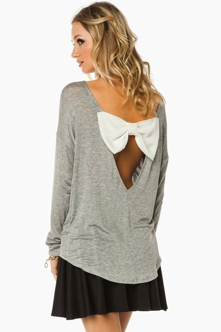 ShopSosie Style : The Last Bow Top in Light Grey