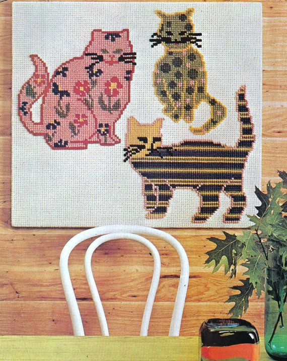 Vintage Cross Stitch Pattern for Calico Cats