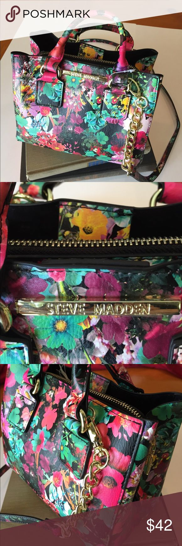 Steve Madden Floral Satchel Bag/New Perfect bag for Summer from SM with a nice floral design and two separate compartments with another bag in the middle Steve Madden Bags Satchels