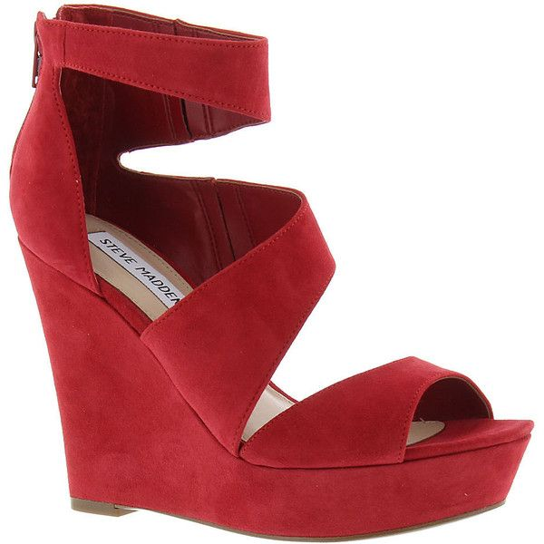 Steve Madden Essex Women's Red Sandal ($90) ❤ liked on Polyvore featuring shoes, sandals, red, strap wedge sandals, red sandals, platform sandals, wedge heel sandals and red wedge shoes