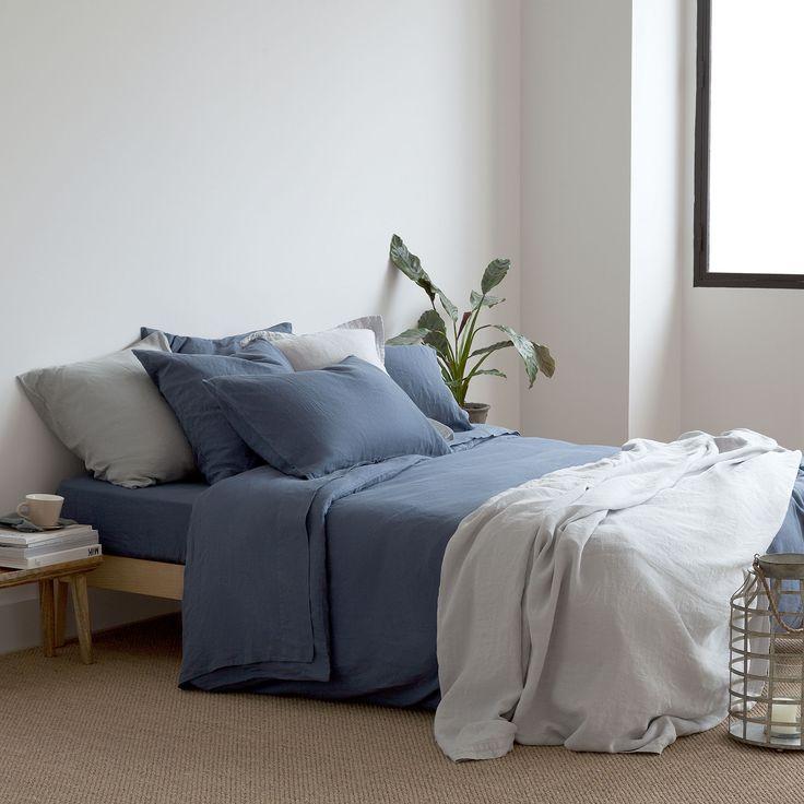 BLAUWE LINNEN LAKENS EN SLOPEN - Lakens en Hoezen - Slaapkamer | Zara Home Holland