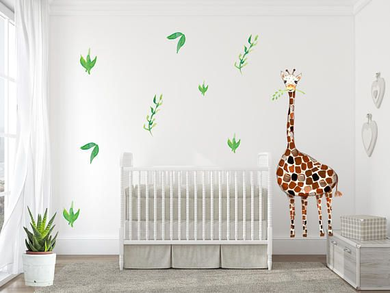 Giraffe Wall Decal Baby Room Nursery Decor Safari Watercolor Neutral Art Stickers