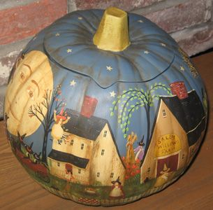 New England Folk Art Halloween Village Ceramic Pumpkin-New England, Folk Art, Halloween, Village, Ceramic Pumpkin, Autumn In New England