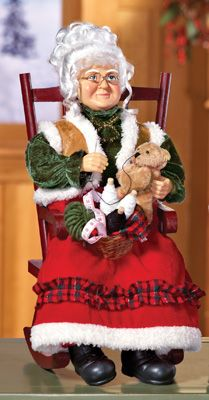 Mrs. Claus Sewing in Rocking Chair Tabletop Decoration