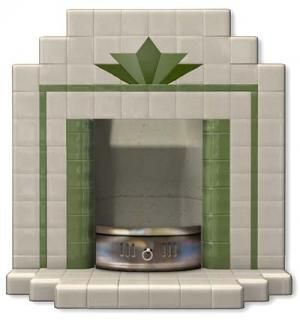 All tiled fireplace showing a double stepped hearth