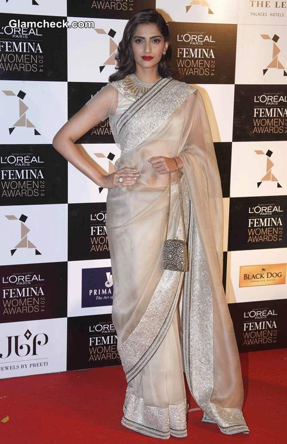 #Style Icon #Sonam Kapoor in a Serene #White #Saree for #Femina #women #awards2014  We loved her Style…  What's your take????