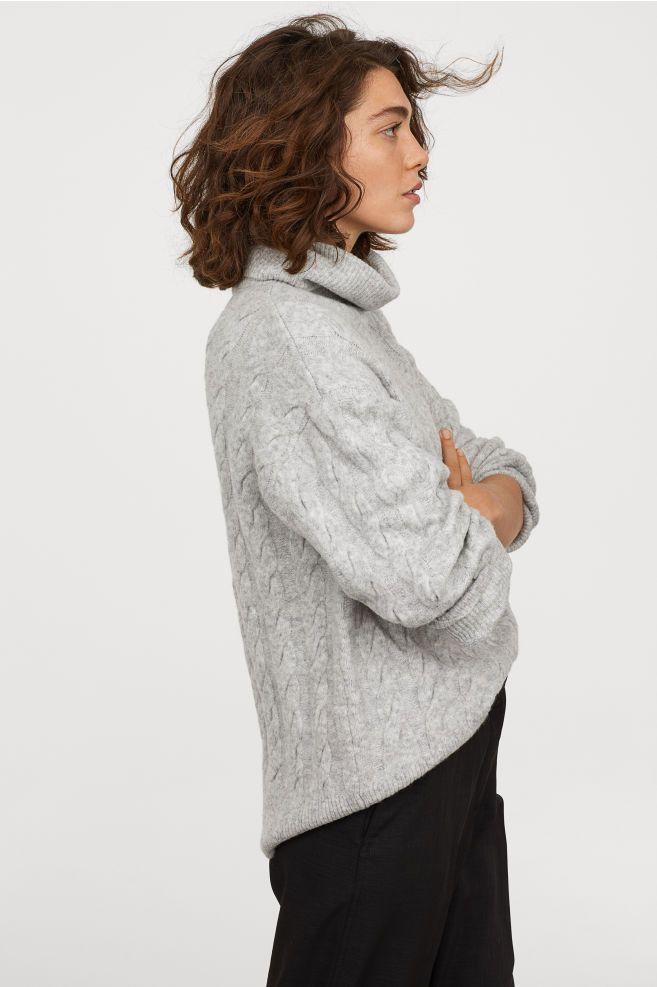 07de419d41 Cable-knit Turtleneck Sweater - Light gray melange - Ladies