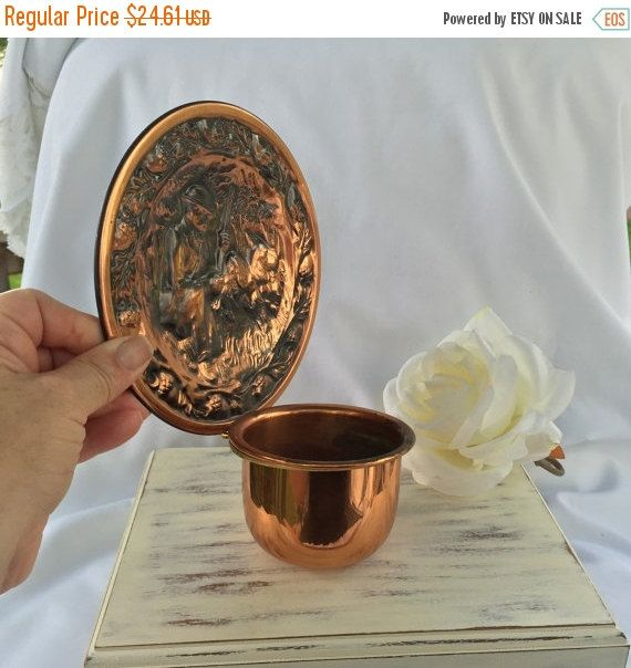 Hanging Copper Planter Bowl Engraved Plate Planter Lovely Copper Patina by Coppercraft Wall Decor by StudioVintage on Etsy