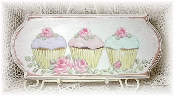 Sweet & Chic Cupcakes & Pink Roses Sign - Hand Painted