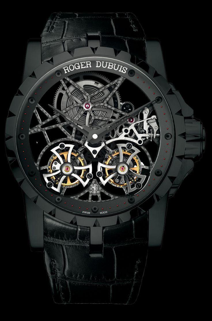 Roger Dubuis Excalibur Skeleton Double Flying Tourbillon in black titanium