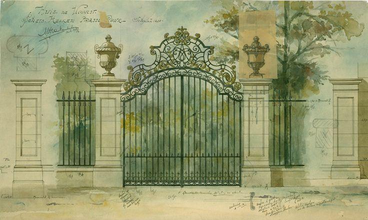 Van Nieukerken. Ontwerp van een hek voor Landhuis de Voorst te Eefde, voor familie Völcker, 1909-1910. Collectie NAi, NIEU 96