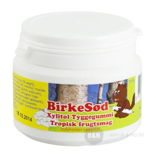 Birkesød Xylitol Tyggegummi med Tropisk Frugtsmag.