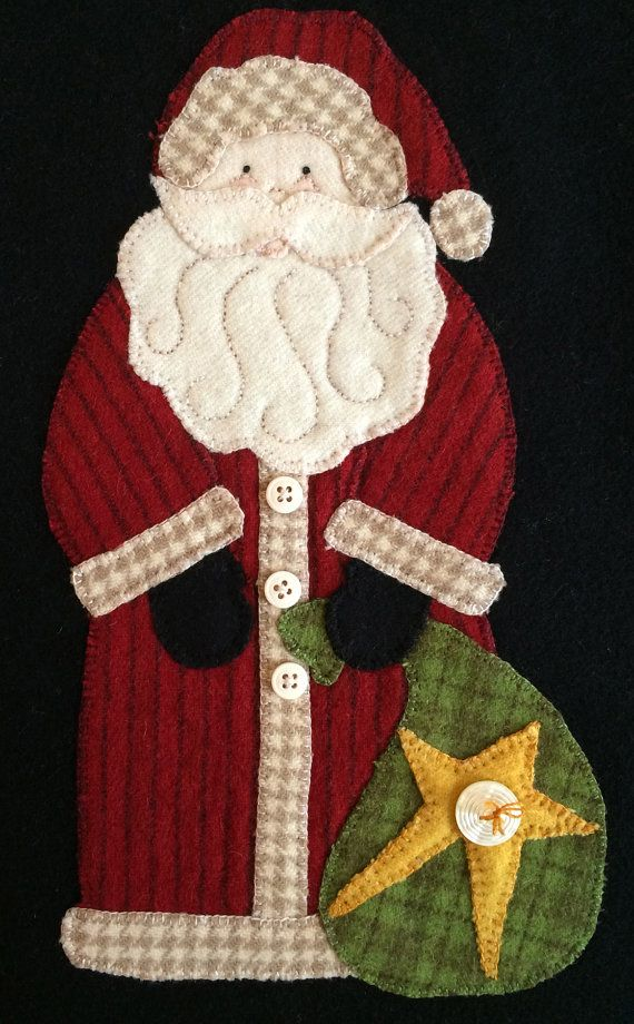 Old St Nick wool appliqué kit and pattern by myreddoordesigns, $29.95