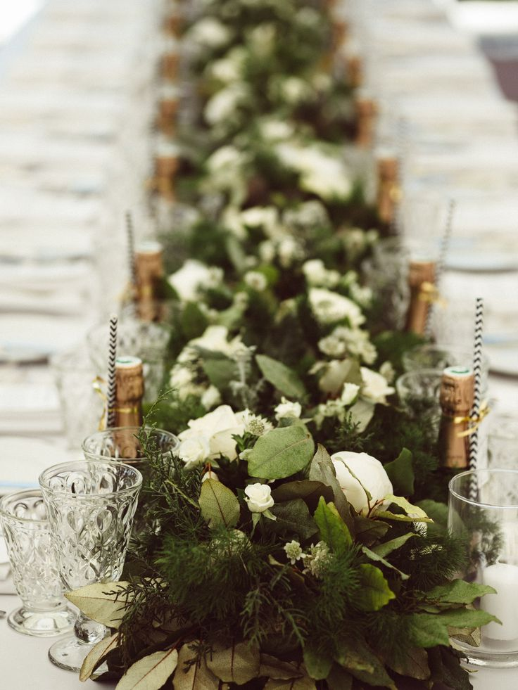organic green table garland; hotel villa belrose wedding st tropez france; PHOTOGRAPHY Joel + Justyna Bedford;