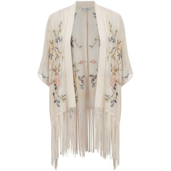 Miss Selfridge Petites Floral Kimono, Peach ($65) ❤ liked on Polyvore featuring outerwear, jackets, cardigans, tops, kimono, petite, floral kimono, embroidered jacket, fringe kimono and flower print jacket