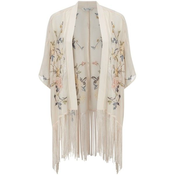 Miss Selfridge Petites Floral Kimono, Peach (£45) ❤ liked on Polyvore featuring outerwear, cardigans, kimono, petite, embroidered kimono, fringe kimono, miss selfridge, floral print kimono and floral kimono