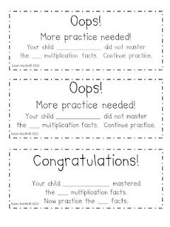 """$0 Free...Communicate with your parents, the results of your weekly fluency assessments with the """"Oops!"""" and """"Congratulation!"""" notes.    -3rd Grade Grapevine: Math Fact, Grade Math, Fluency Assessment, 3Rdgrade, Multiplication Fluency, Math Ideas, Grade Grapevine, Classroom Ideas, 3Rd Grade"""