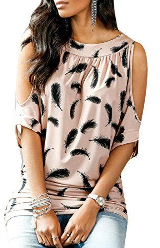 MLG Womens Fashion Cold Shoulder Feather Print Blouse Tops Pink XS -- You can find more details by visiting the image link-affiliate link. #KoreanFashion