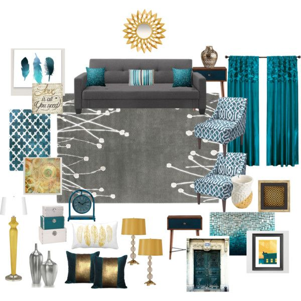 Teal Grey Gold Living Room By Ealfaro814 On Polyvore Featuring Interior Interiors