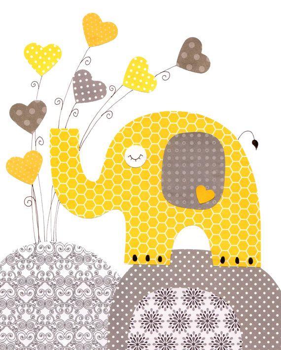 Jaune éléphant gris coeur pépinière oeuvre par 3000yardsofthread