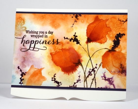 Heather Telford  Stamps: Demure, Sprinkles and Smiles (PB); Inks: Dusty Concord, Victorian Velvet, Ripe Persimmon, Spiced Marmalade, Tumbled Glass (Ranger)  Cardstock: Fabriano 100% cotton hot pressed watercolour paper, purple cardstock