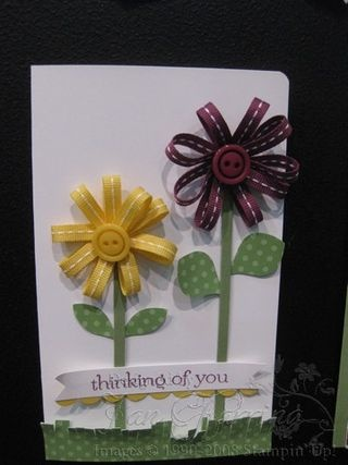 Flowers with ribbon-how cute!