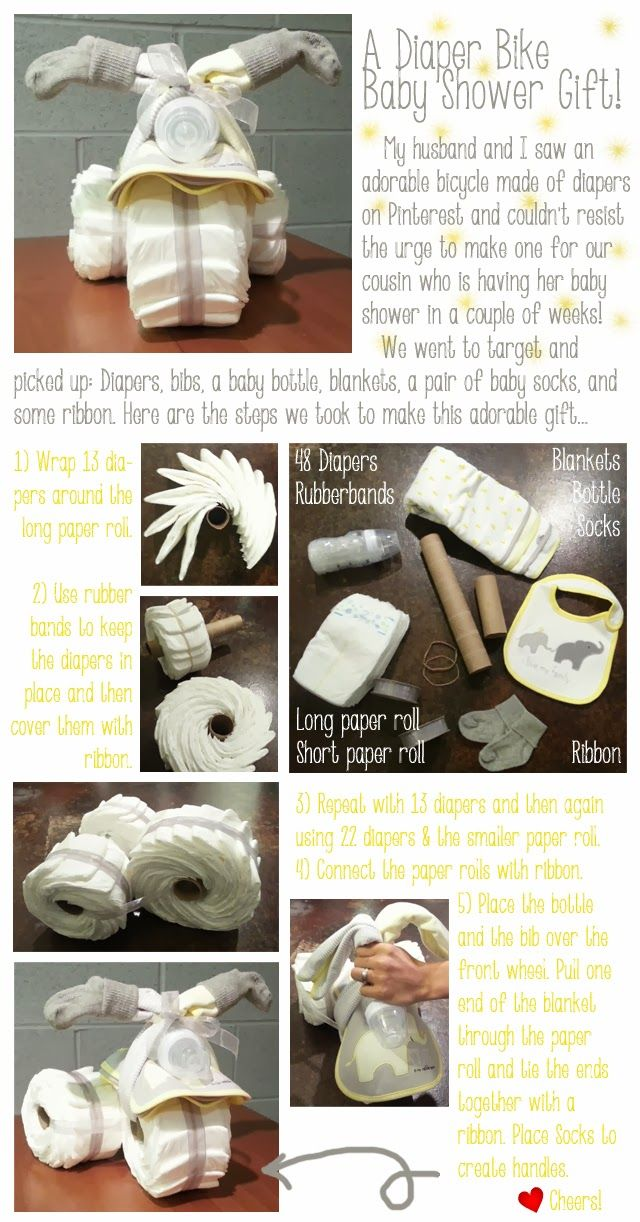 DIY Diaper Bike Diaper Cake...Baby Shower Gift!