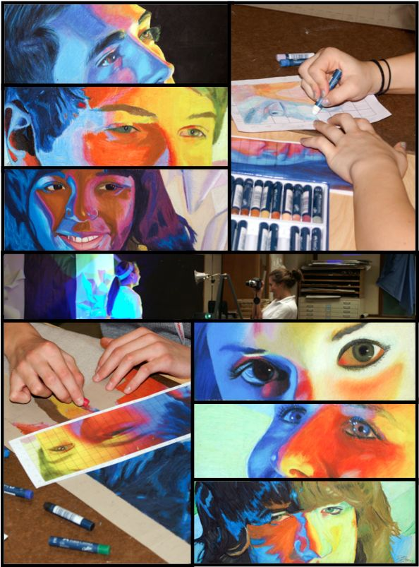 Colorsplash Images 2:  Color Splash Oil Pastel Portraits.    Create a cropped oil pastel portrait from a photograph of themselves or another with two colors projected on opposing sides of the face.