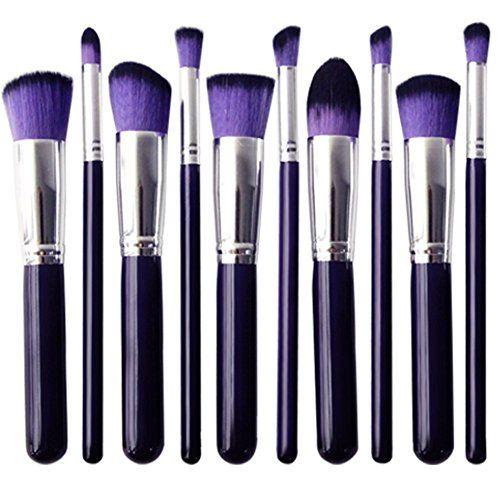 Skyblue-uk Kit De Pinceau Maquillage Professionnel 10PCS Manches en Bois Violet Pinceau Poudre Eyebrow Shadow Blush Fond De Teint Anti-Cerne