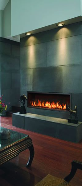 Town & Country WS54 direct vent gas fireplace shown with concrete tile wall