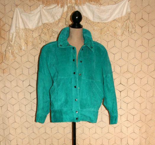 Bomber Jacket Vintage 80s Hipster Jacket Teal by MagpieandOtis
