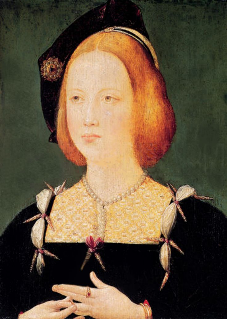 "Mary Tudor, Henry VIII's younger sister was known as one of the most beautiful princesses in Europe. She also had the trademark red hair of the Tudors.  When she married the King of France, the Ambassador from Venice described her as "" a Paradise - tall, slender, grey-eyed, possessing an extreme pallor"". She wore her glorious silken red-gold hair flowing loose to her waist.  She and her brother Henry were close as children, and he named his daughter Mary after her."