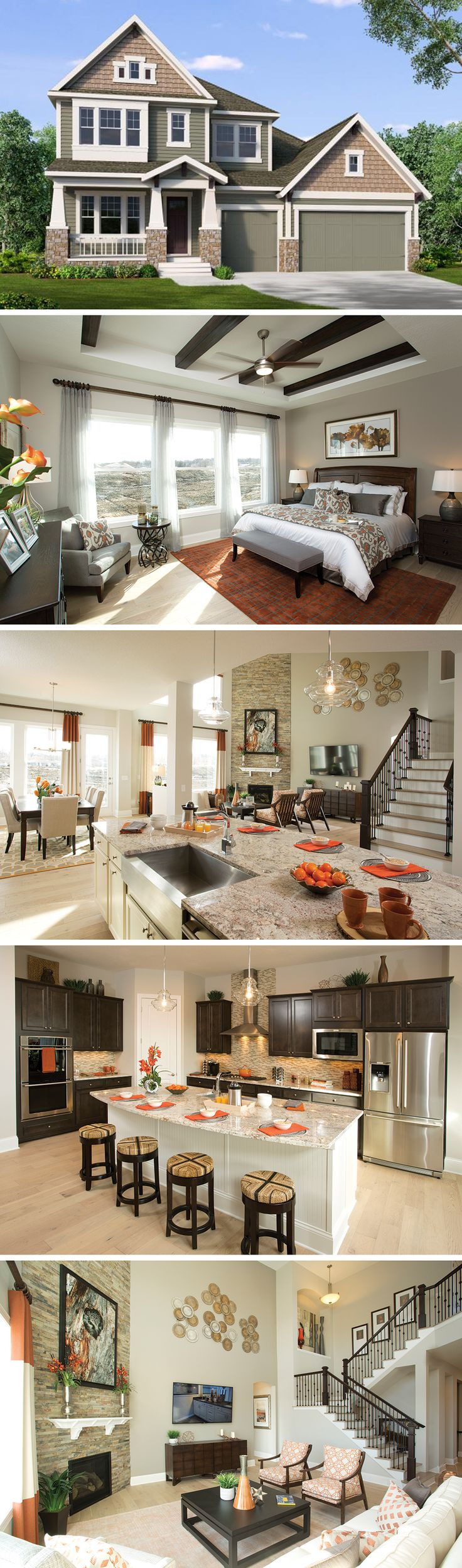 The Carrollwood by David Weekley Homes in Pines at Elmcreek Community is a classic floorplan that features a front porch, a large owners retreat with tray ceilings, and a large finished basement. Custom home upgrades include various basement adjustments, a wet bar, or a deck in the backyard.