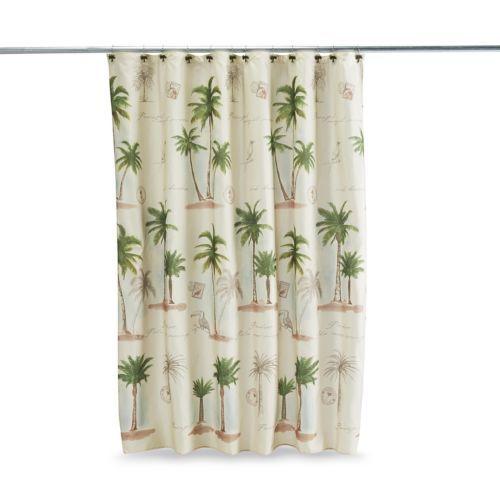 Key Largo Shower Curtain Ivory Bathroom Accessories Palm Trees Tree T