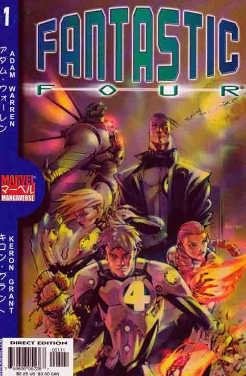 Marvel Mangaverse: Fantastic Four Vol 1 #1 March, 2002 The second Mangaverse graphic novel continued storylines produced in the original series which was later collected as the first graphic novel. This series, at the start, brought back the Mangaverse version of the Fantastic Four, although slightly modified in appearance from the initial look they had in the mid-part of the first volume (though in the final issue they look as they do in volume 2).