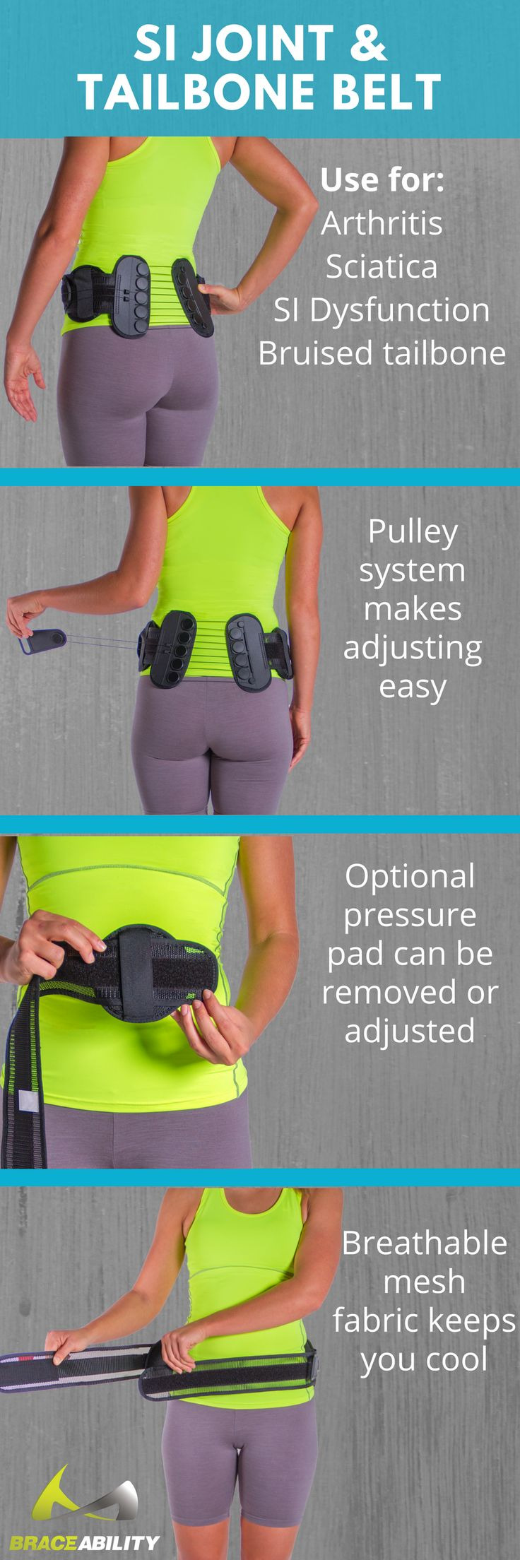 Are you dealing with pain in your SI joint or tailbone? This belt is great for treating SI joint dysfunction, a bruised tailbone and arthritis in the lower back. The pulley system helps relieve pressure on the abdomen and target the sore locations in your back!