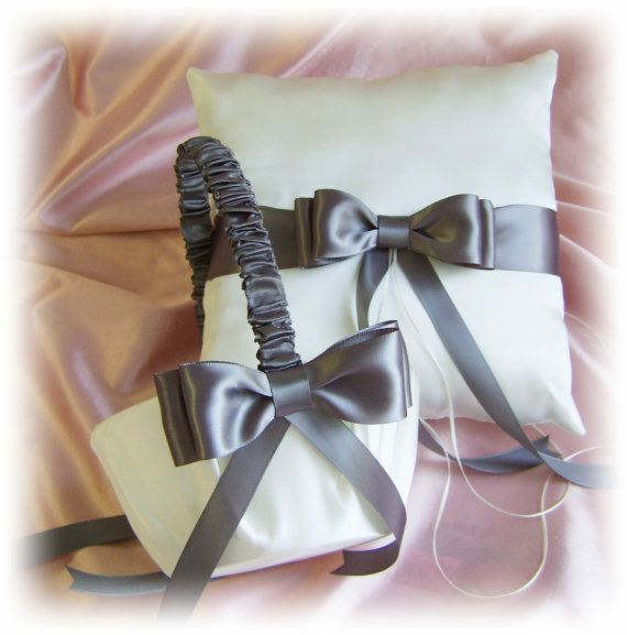 This might be perfect. Only $55 for both. Wedding Flower Girl Basket and Ring Bearer Pillow  Dark Grey Pewter Wedding Colors