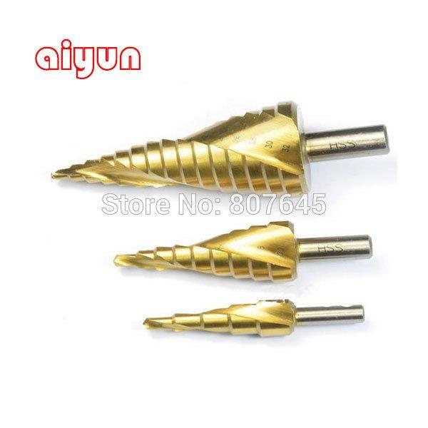 16.50$  Buy now - http://aliuz9.shopchina.info/go.php?t=1925169558 - 3pcs/set HSS Step Drill Bit Set  Metric Spiral Flute core drill bit Titanium Coated cone Step Drill Bit Set hole cutter round  #buyonlinewebsite