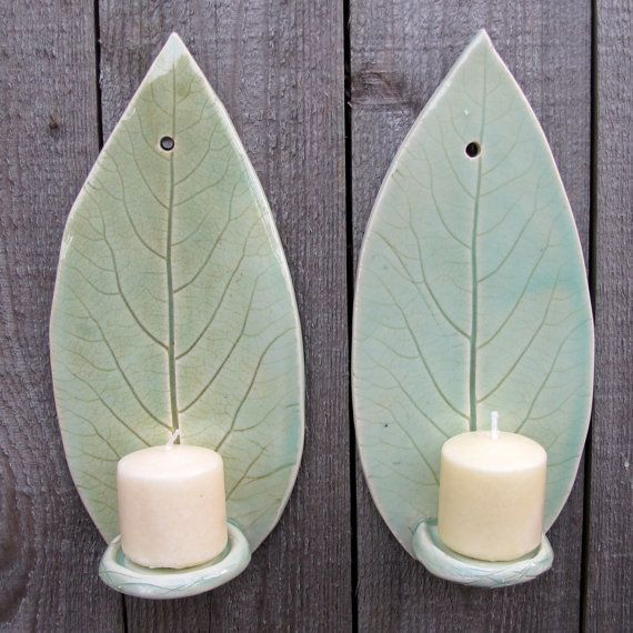 Handbuilt Hosta Blatt Ton/Keramik Wand hängen Candle Wandlampen in Licht grün Celadon, set von 2