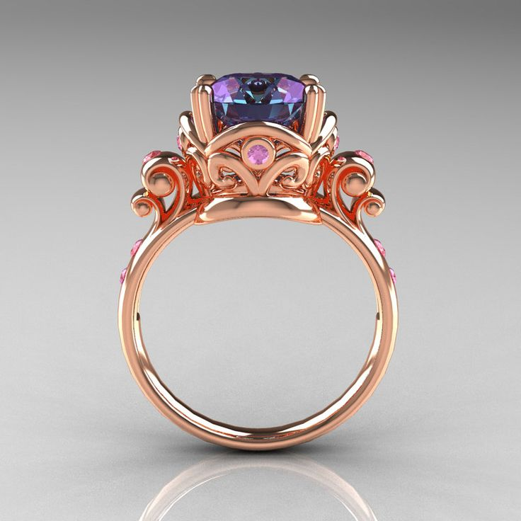 Modern Vintage 14K Rose Gold 2.5 Carat Alexandrite and Light Pink Sapphire Wedding, Engagement Ring R167-14KRGLPSAL. $1,049.00, via Etsy.