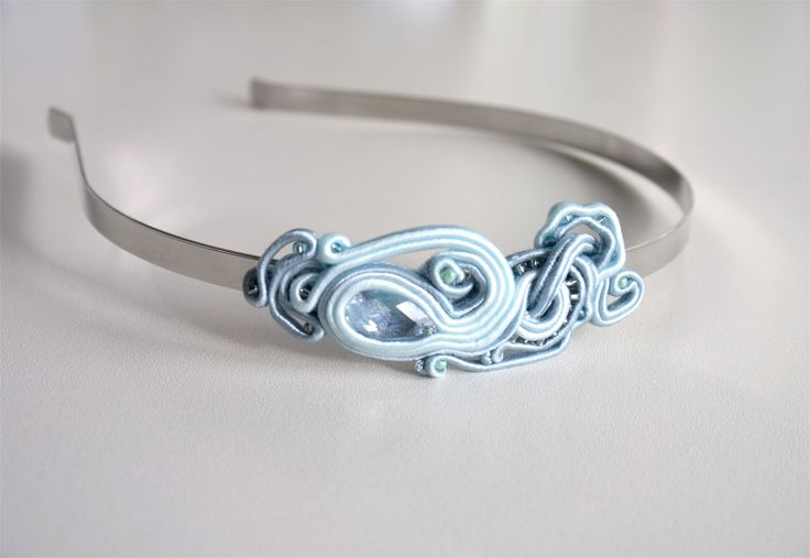 Only on pl.dawanda.com/... #soutache #headband #swarovski #mint #blue #ornament #silver