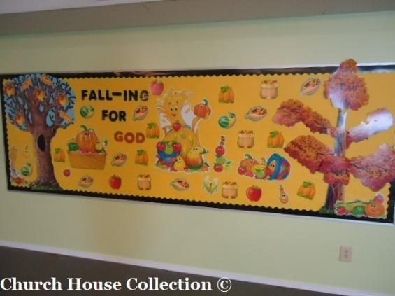 Falling for god bulletin board idea for sunday school fall for Fall bulletin board ideas