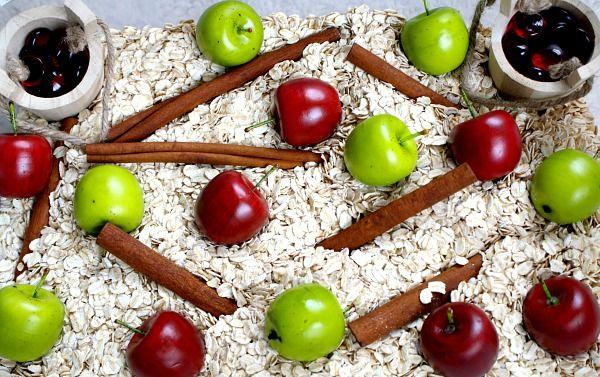 Fall Apples Sensory Bin - oatmeal, plastic apple pieces, cinnamon sticks