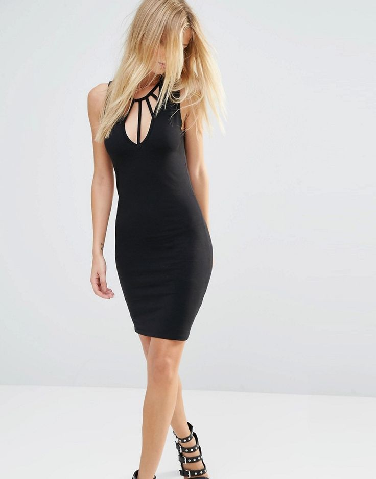 Image 1 ofNoisy May Bodycon Dress with Neck Detail