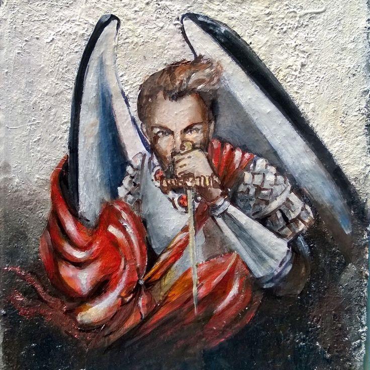 St Michael oil on canvas 20x30 cm --- San Michele Angelo guerriero. Olio su cartone 20x30 cm #portrait #ritratto #painting #angel #pittura #italy #angelo #sanmichele #art #arte #oilpainting #pitturaolio #ilustration #illustrazione #foto #photo #instagood #instamood #fantasy