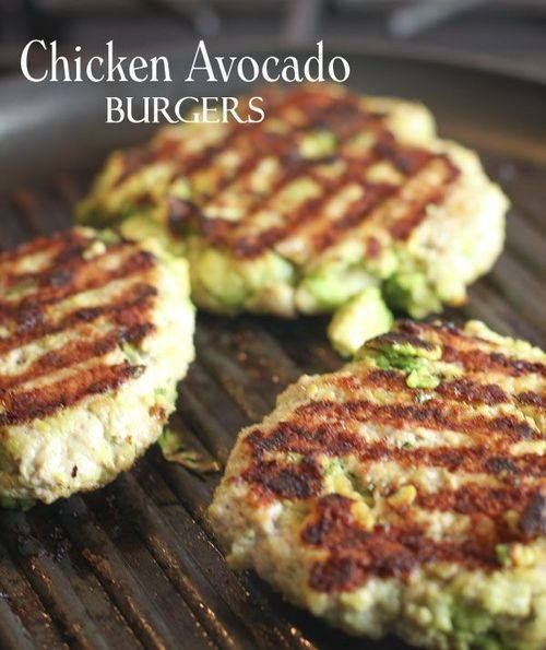 Chicken Avocado Burgers [Mix 1 lb ground chicken, 1 chopped avocado, 1 chopped garlic clove, 1/3 c Panko bread crumbs, 1/2 t salt, 1/4 t pepper, 1 minced jalepeno]